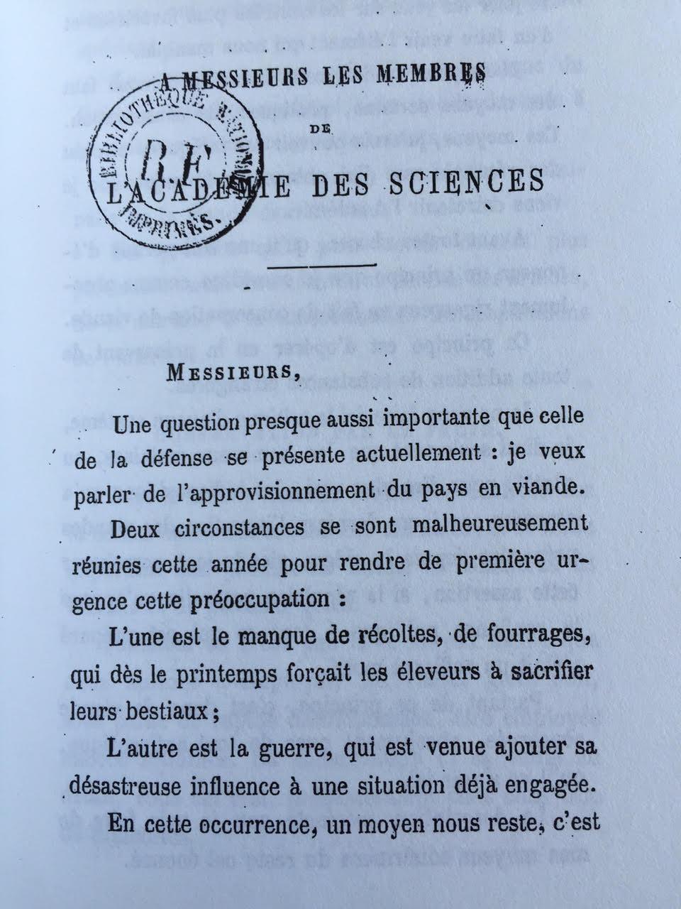Charles Tellier, sur la conservation des viandes