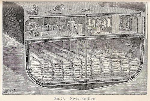 La cale frigorifique pour le transport de la viande