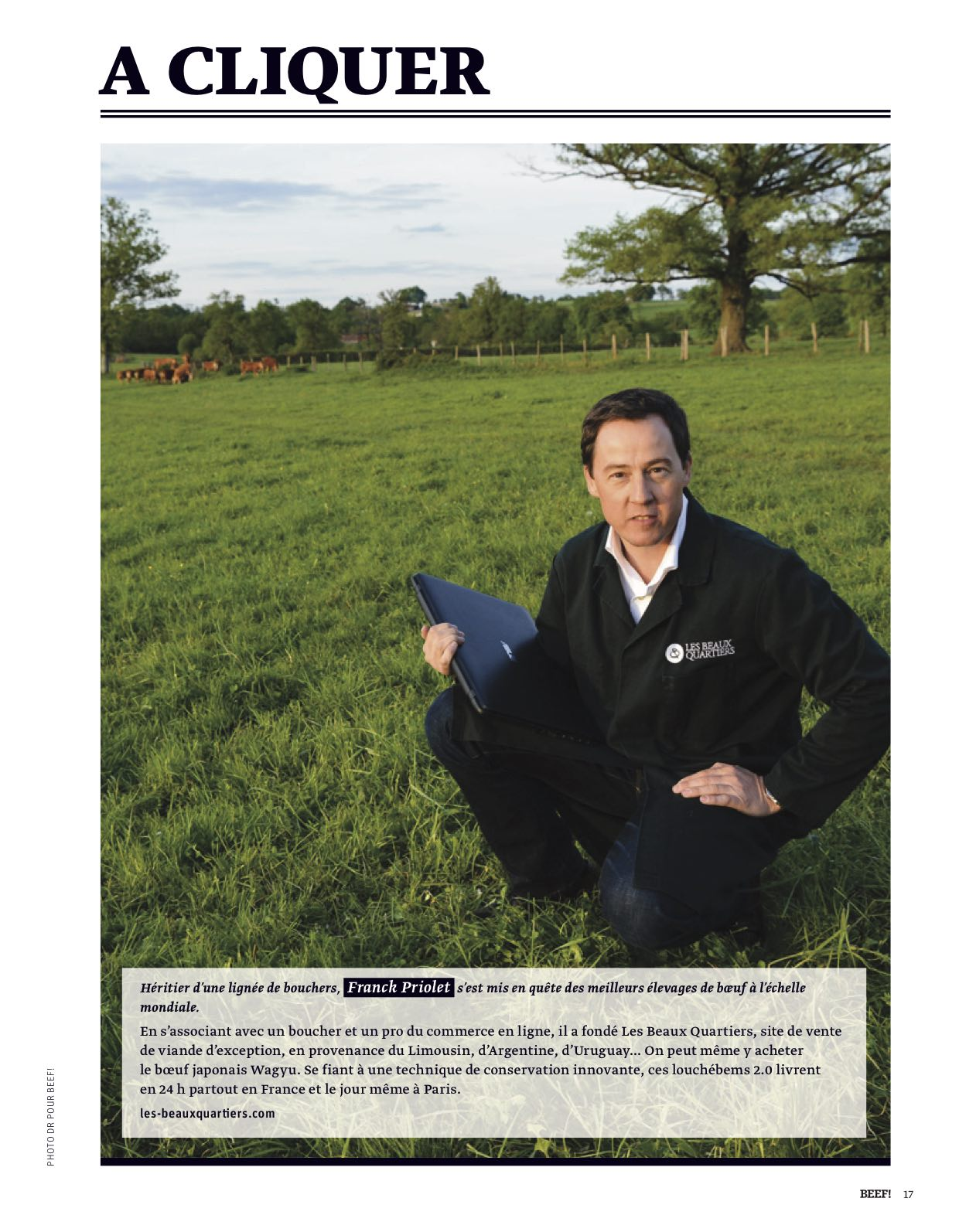 Franck Priolet fondateur de la marque de boeuf d'exception